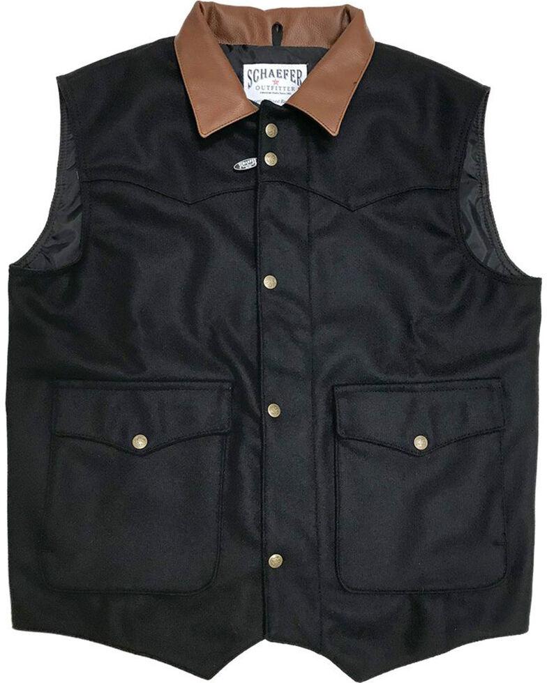 Schaefer Outfitter Men's 713 Wool Cattleman Vest, Black, hi-res