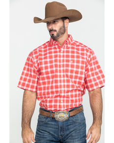 Ariat Men's Guntersville Stretch Plaid Short Sleeve Western Shirt , Red, hi-res