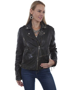 Leatherwear by Scully Women's Black Studded Vintage Leather Jacket, Black, hi-res