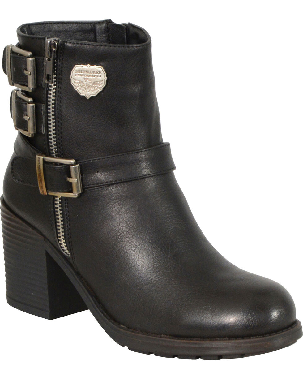 Milwaukee Leather Women's Black Triple Buckle Side Zipper Boots, Black, hi-res