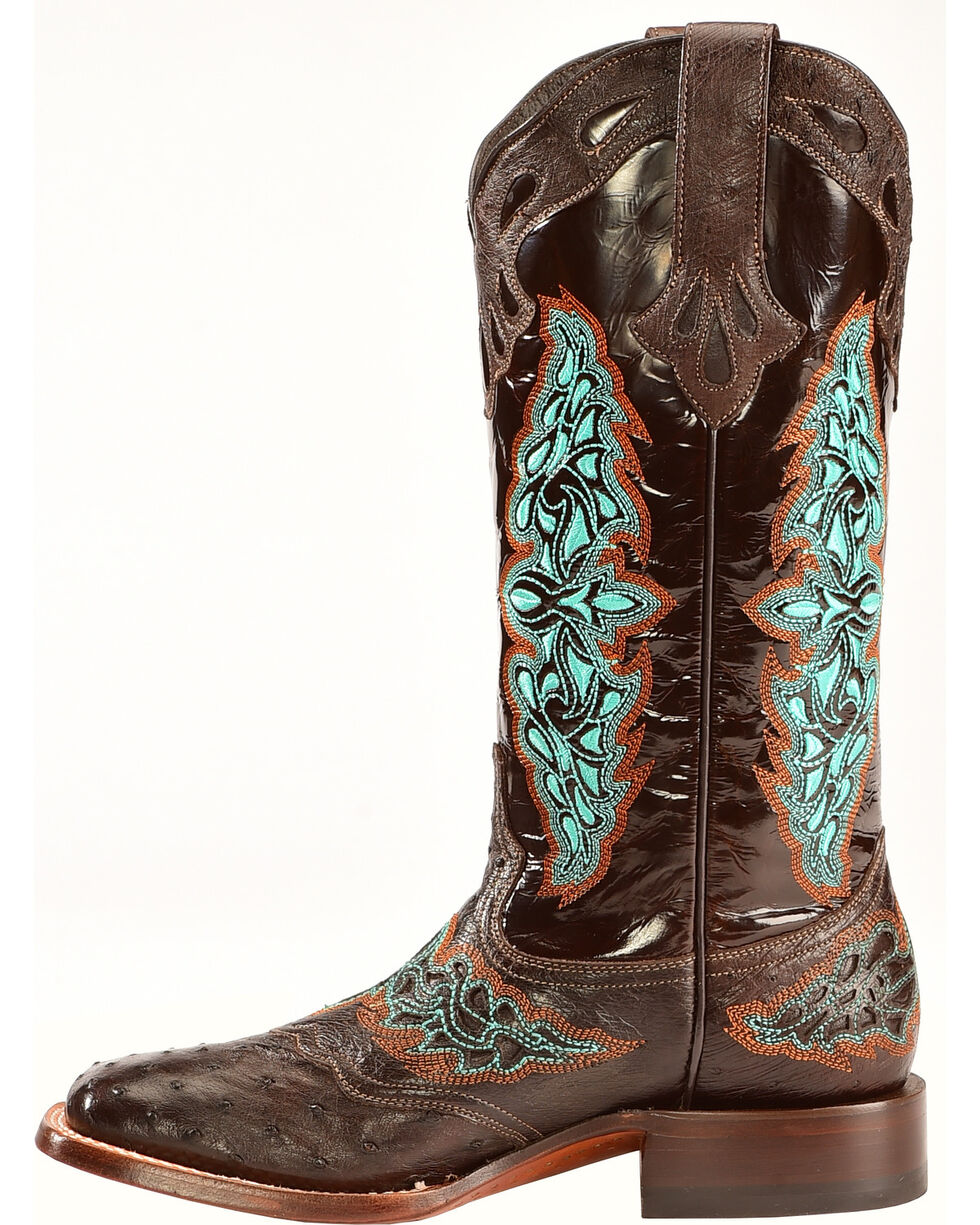 Lucchese Women's Amberlyn Full Quill Ostrich Exotic Boots, Chocolate, hi-res
