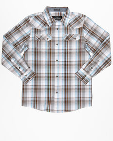 Cody James Boys' Hollister Ranch Multi Plaid Long Sleeve Western Shirt , Multi, hi-res