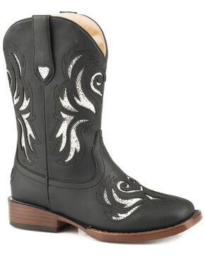 Roper Girls' Black Glitter Breeze Cowgirl Boots - Square Toe, Black, hi-res