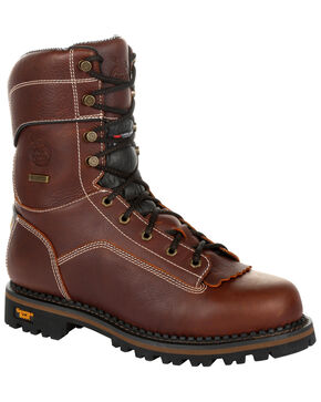 Georgia Boot Women's AMP LT Waterproof Insulated Logger Boots - Round Toe, Brown, hi-res