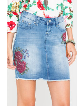 Grace in LA Women's Floral Patch Denim Skirt, Light/pastel Blue, hi-res