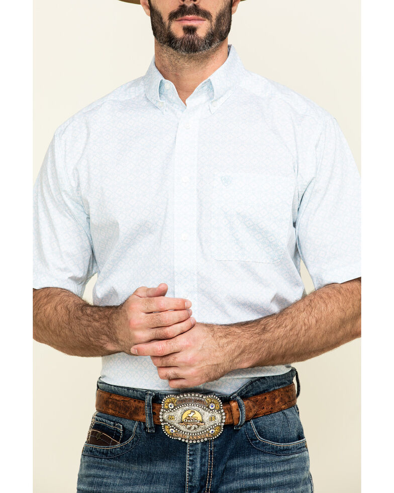 Ariat Men's Nothell Stretch Aztec Print Short Sleeve Western Shirt - Big , Blue, hi-res