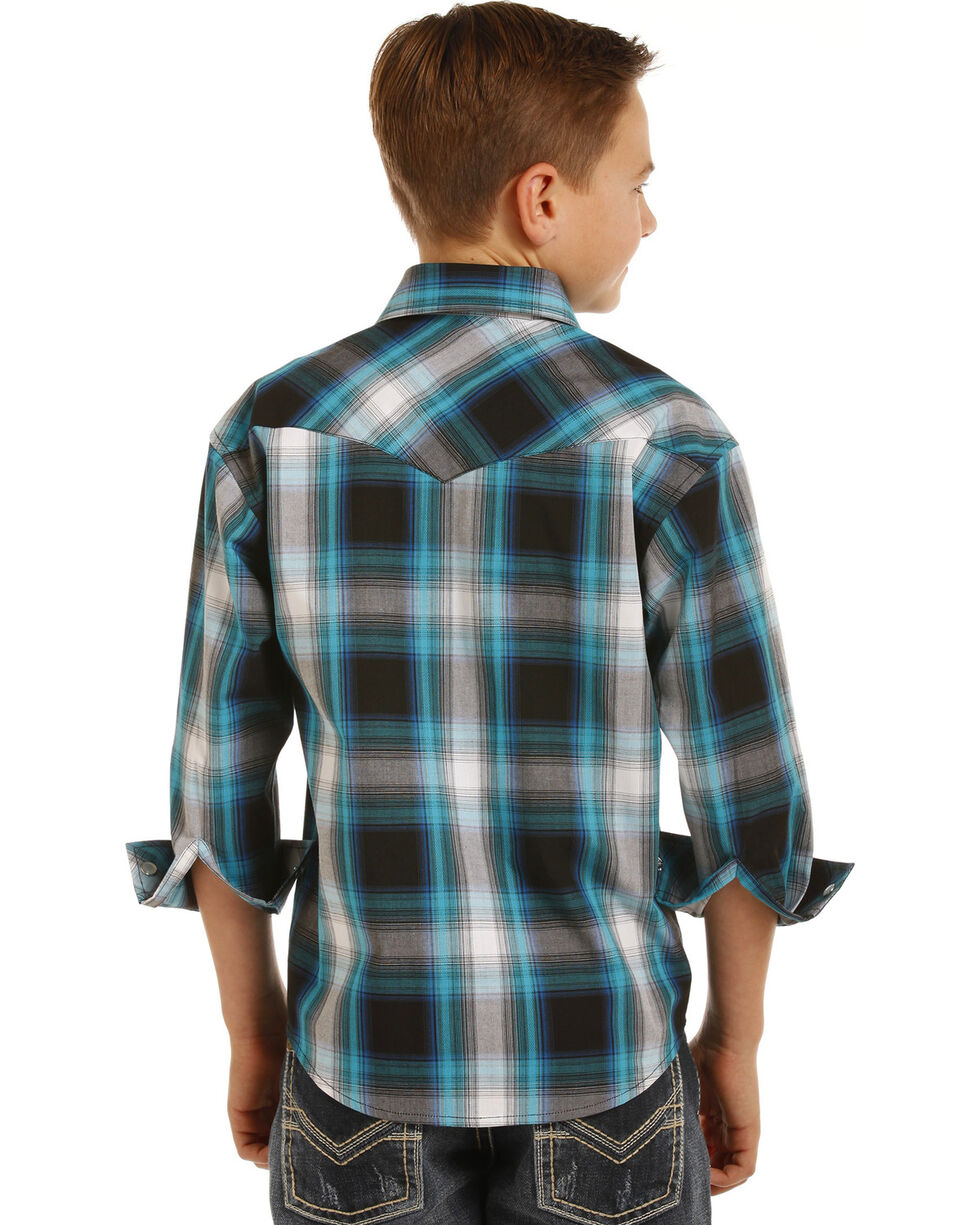 Rock & Roll Cowboy Boys' Plaid Long Sleeve Snap Shirt, Black, hi-res