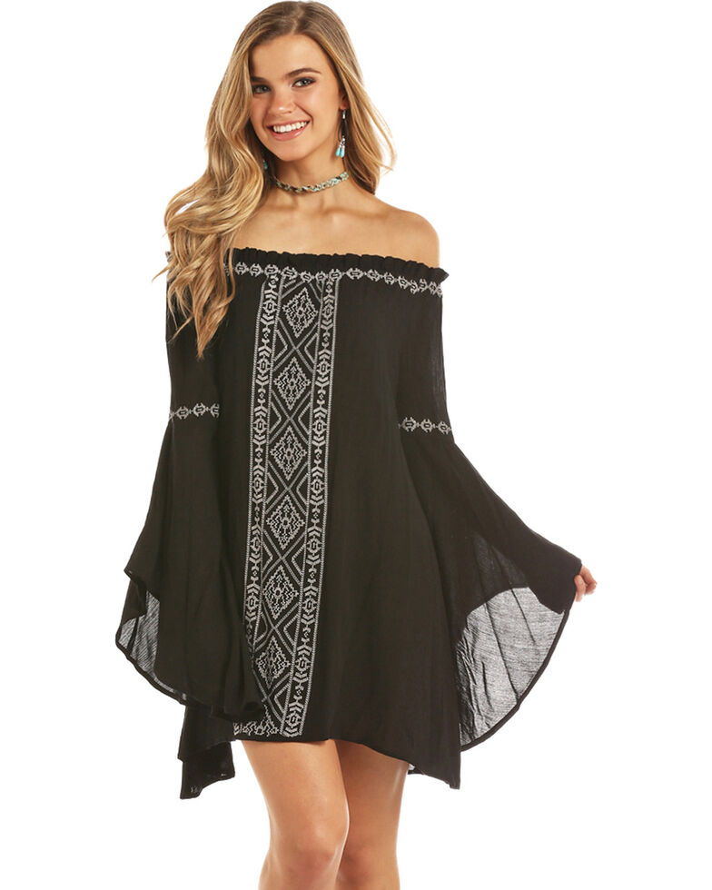 Rock & Roll Denim Women's Black Cascade Bell Sleeve Dress , Black, hi-res