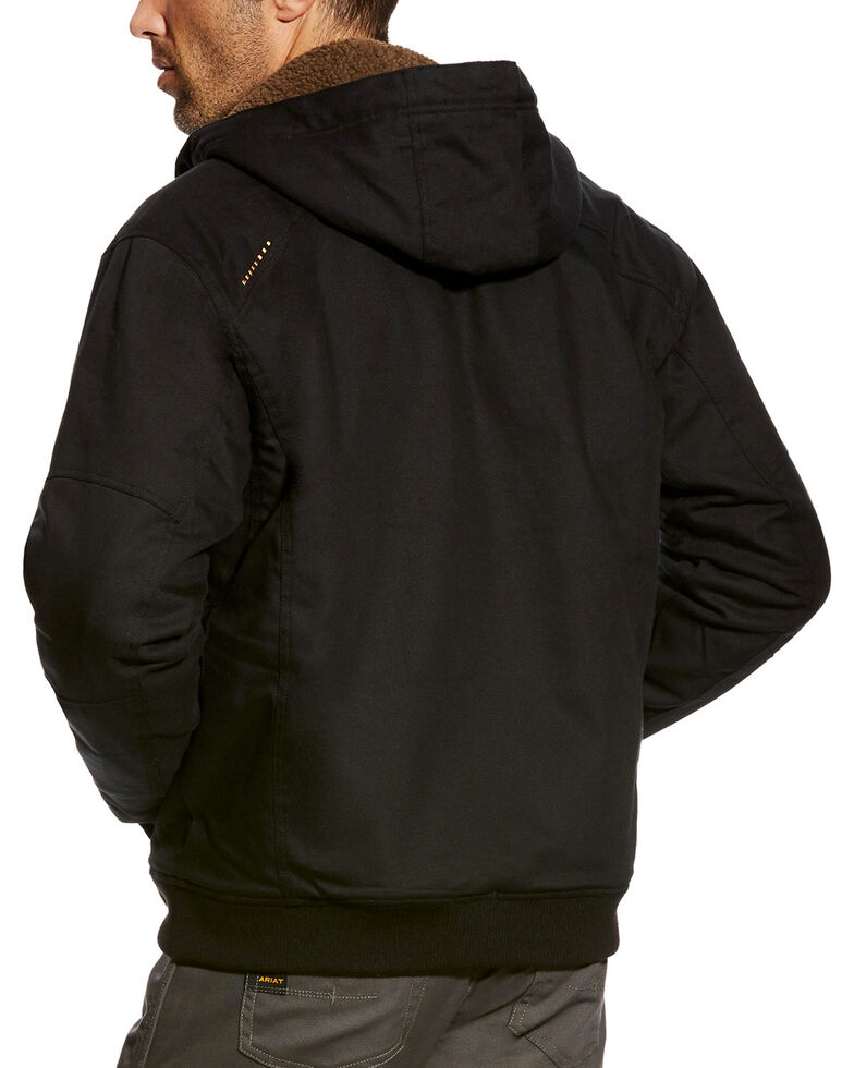 Ariat Men's Black Rebar Duracanvas Work Hooded Jacket, Black, hi-res