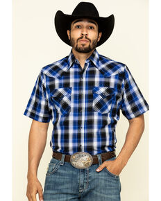 Ely Cattleman Men's Blue Plaid Short Sleeve Western Shirt , Blue, hi-res