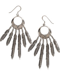 Silver Legends Women's All Silver Feather Dangle Earrings , Silver, hi-res