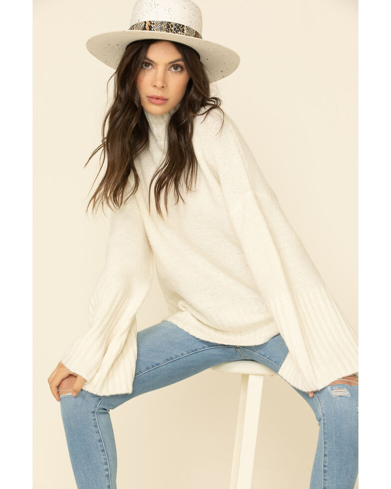 Flying Tomato Women's Ivory Rib Knit Bell Sleeve Sweater , Ivory, hi-res