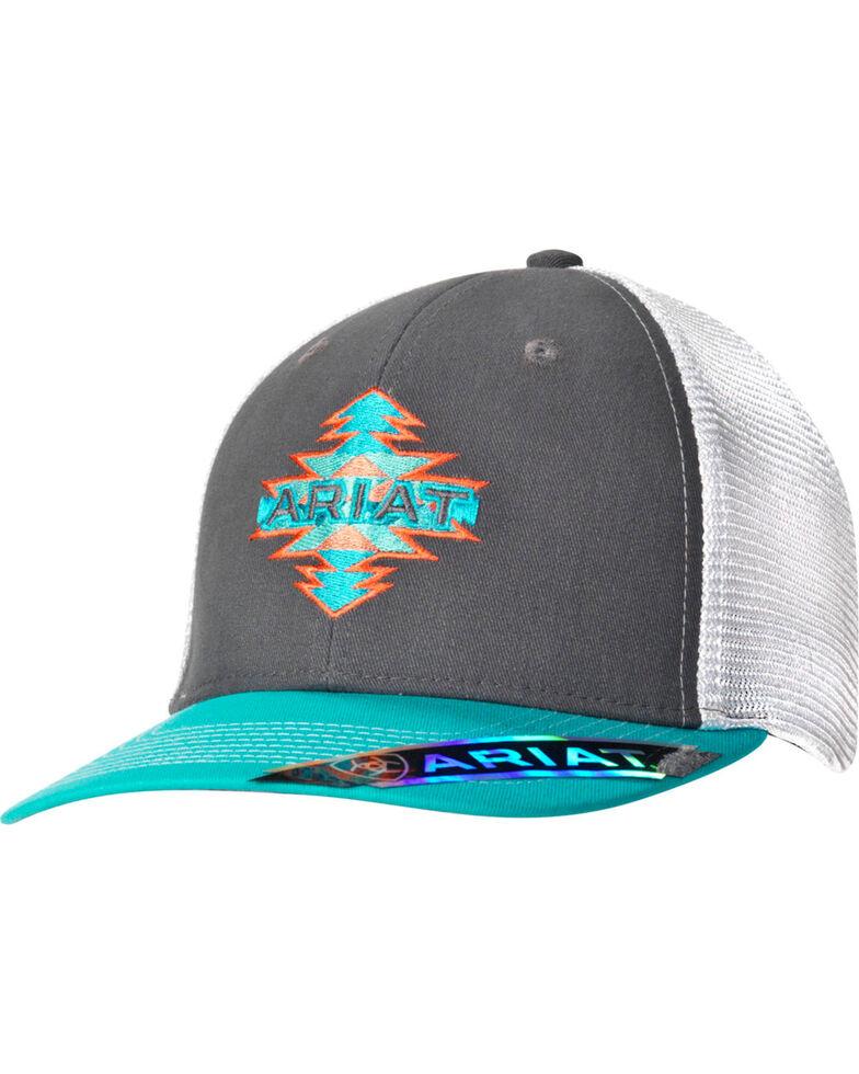 Ariat Women's Aztec Logo Mesh-Back Ball Cap, Grey, hi-res