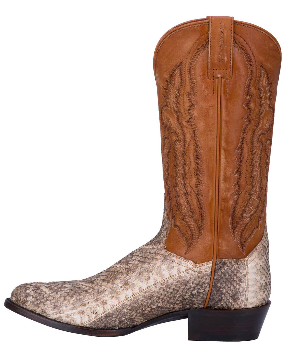Dan Post Men's White Venom Rattlesnake Skin Boots - Medium Toe , White, hi-res