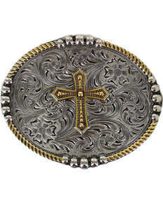Cody James® Men's Filigree Cross Belt Buckle, Silver, hi-res