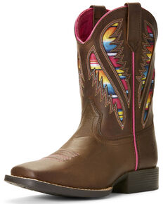 Ariat Girls' VentTEK Quickdraw Serape Western Boots - Wide Square Toe, Brown, hi-res