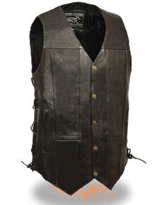 Milwaukee Leather Men's 4X 10 Pocket Side Lace Vest - Tall, Black, hi-res
