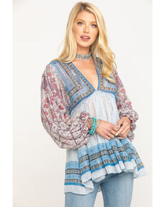 Free People Women's Blue Aliyah Print Tunic, Blue, hi-res
