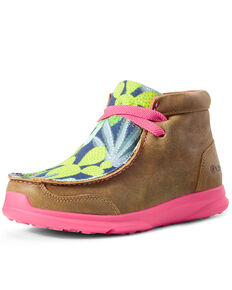 Ariat Girls' Spitfire Cactus Bomber Shoes - Moc Toe, Brown, hi-res