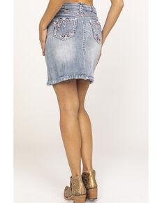 Grace in LA Women's Light Wash Americana Embroidered Frayed Denim Skirt, Blue, hi-res