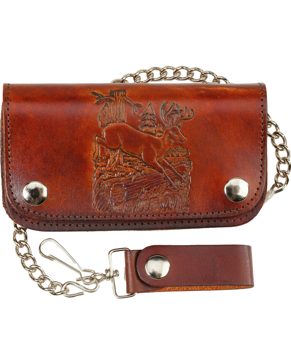 Western Express Men's Brown Deer Leather Biker Wallet , Brown, hi-res