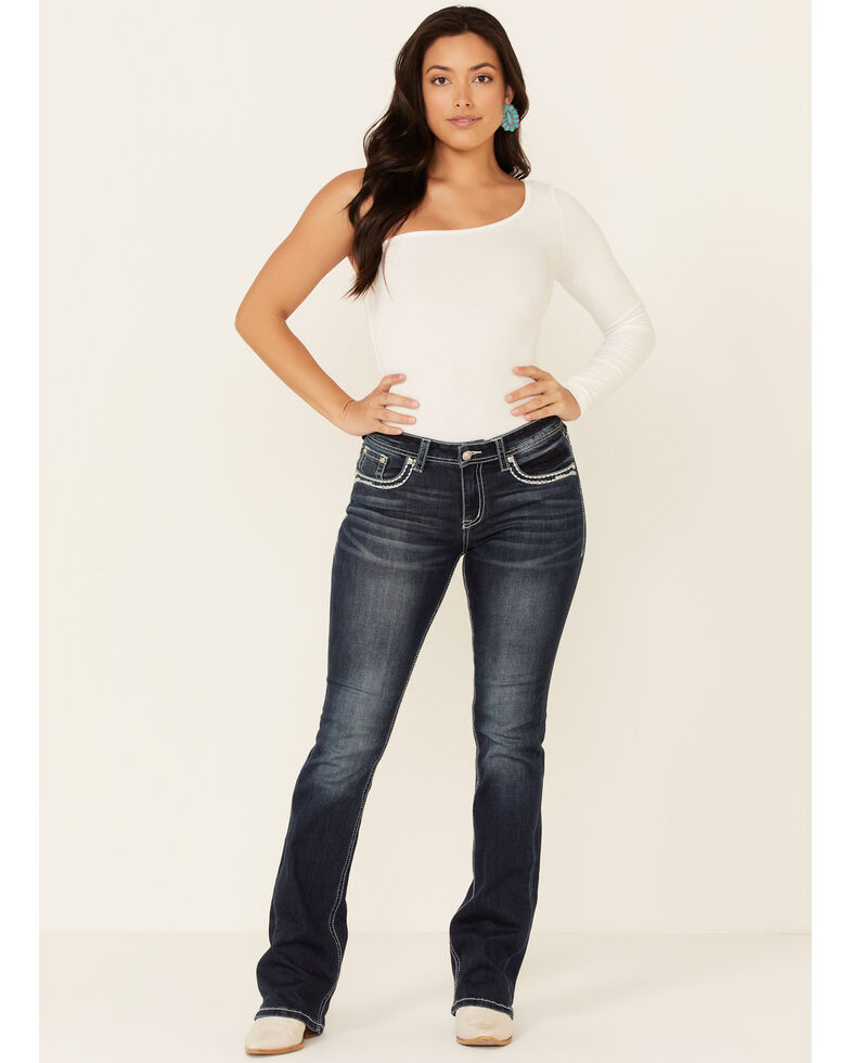 Grace in LA Women's Fleur De Lis Bootcut Jeans, Dark Blue, hi-res