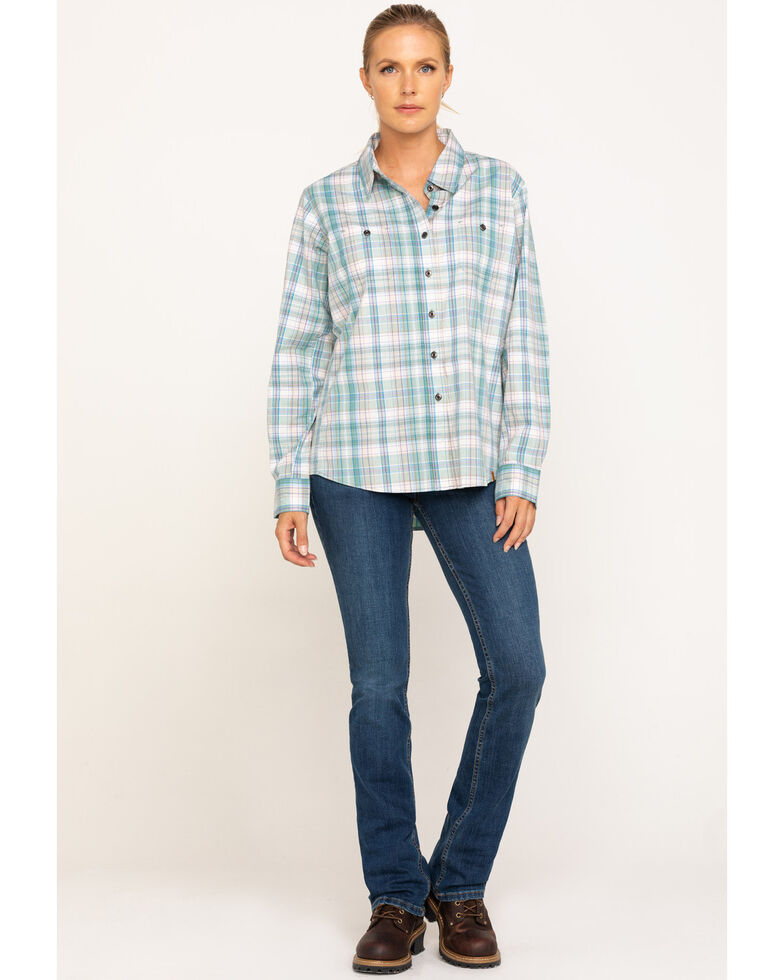 Wrangler Riggs Women's Teal Blue Plaid Long Sleeve Work Shirt  , Teal, hi-res