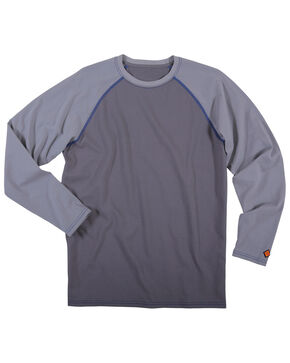 Wrangler Men's Flame Resistant Knit Baseball Tee - Big, Grey, hi-res
