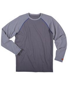 Wrangler Men's Flame Resistant Knit Baseball Long Sleeve Work Shirt - Big, Grey, hi-res