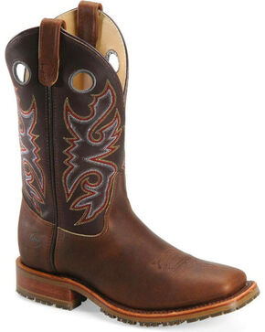 Double-H Men's Steel Toe Western Work Boots, Chocolate, hi-res