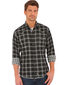 Wrangler Retro Men's Double-Faced Plaid Long Sleeve Western Shirt , Black, hi-res