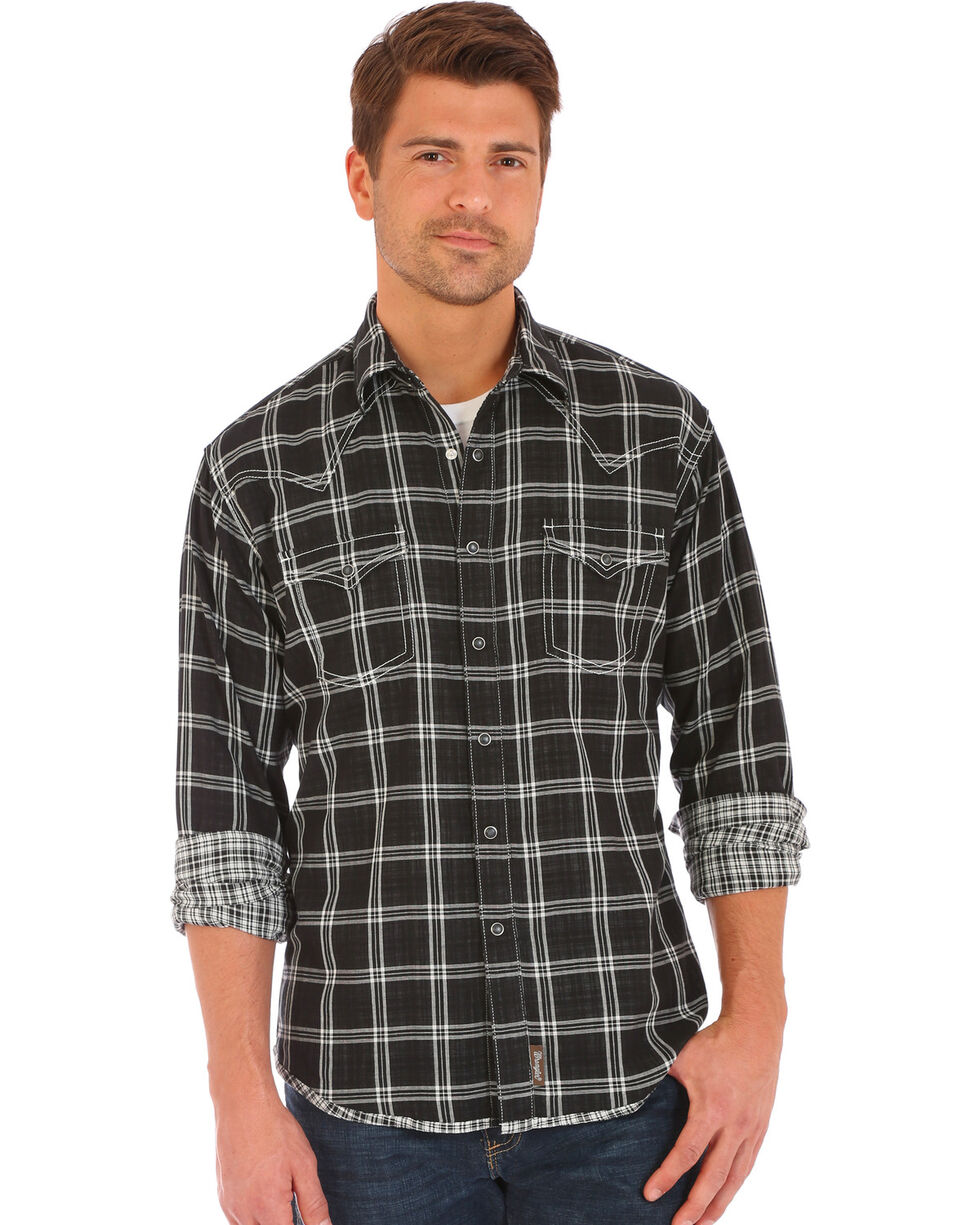 Wrangler Retro Men's Double-Faced Plaid Long Sleeve Snap Shirt, Black, hi-res