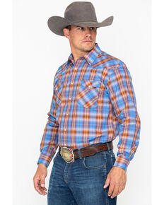 Panhandle Men's Avondale Vintage Long Sleeve Western Shirt, Light Blue, hi-res