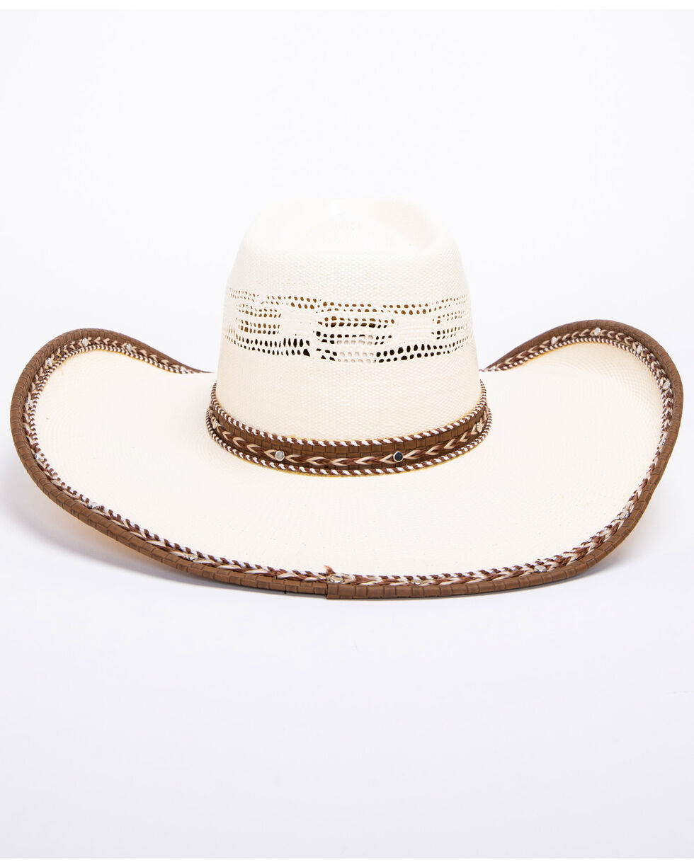 Bullhide Leather Neck 20X Bangora Straw Cowboy Hat , Natural, hi-res