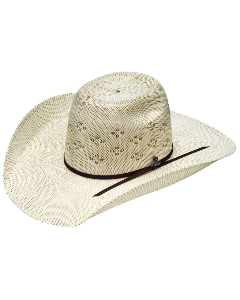 M & F Western Natural Bangora Western Straw Hat , Natural, hi-res