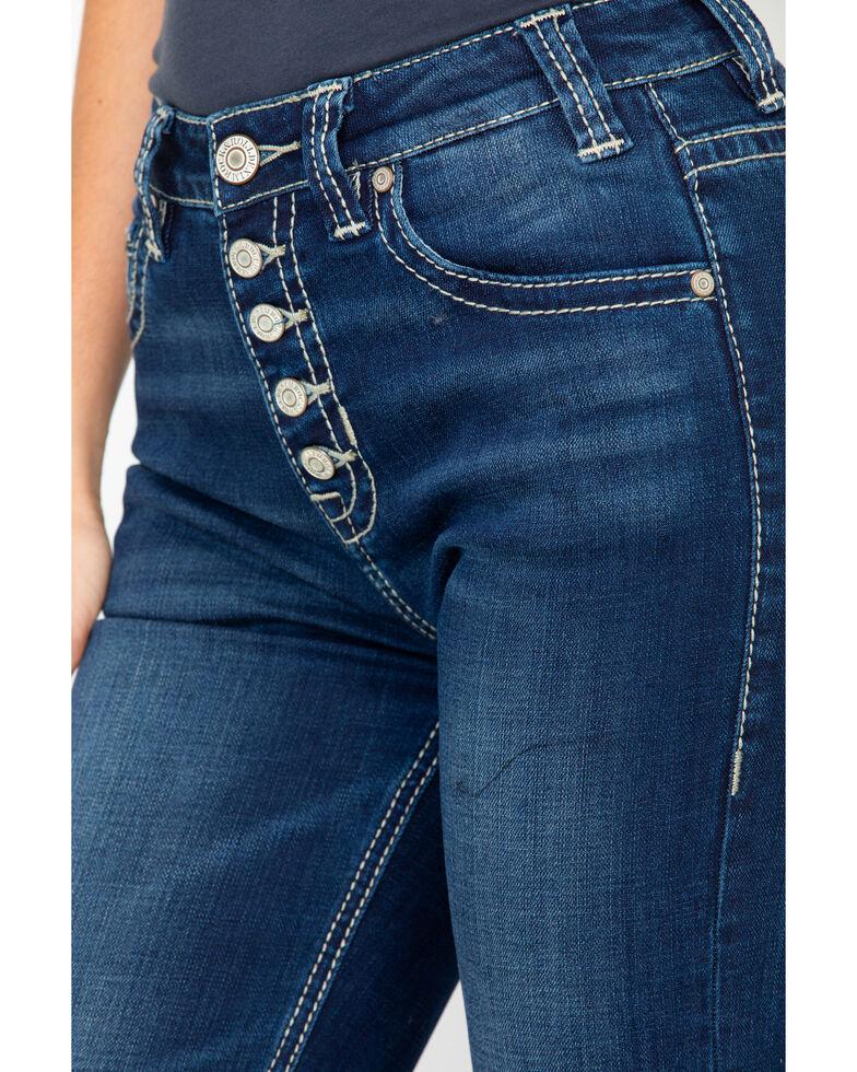 Rock & Roll Cowgirl Women's Applique High Rise Trousers , Medium Blue, hi-res