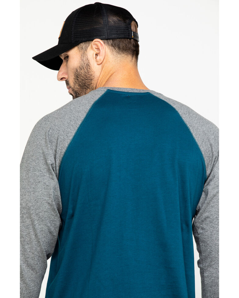 Hawx Men's Charcoal Baseball Raglan Crew Long Sleeve Work Shirt - Tall , Charcoal, hi-res