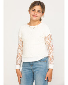 Shyanne Girls' Ivory Lace Waffle Knit Top, Ivory, hi-res