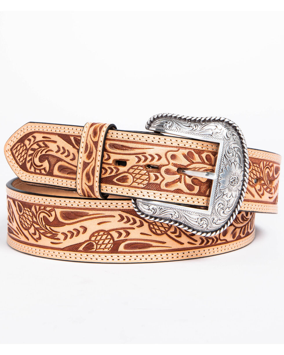 Roper Men's Natural Acorn Hand Tooled Leather Belt, Natural, hi-res