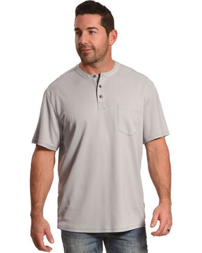 American Worker Men's Light Grey Trumbull Short Sleeve Henley, Light Grey, hi-res