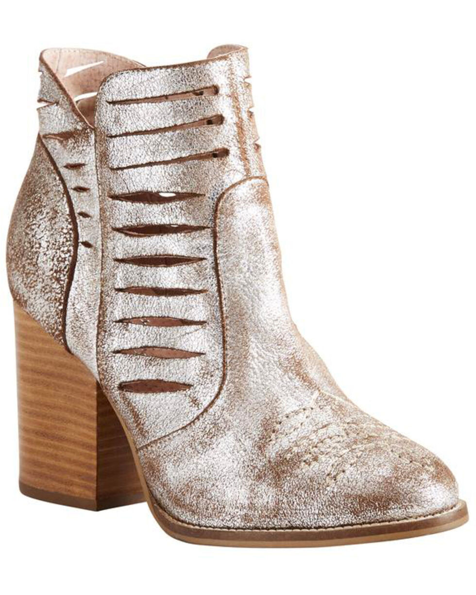 Ariat Women's Metallic Unbridled Adriana Suede Booties - Round Toe , Silver, hi-res