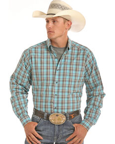 Tuf Cooper Men's Competition Fit Blue Plaid Shirt , Blue, hi-res