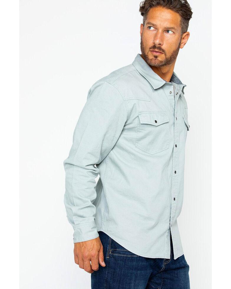 Hawx Men's Twill Snap Western Work Shirt - Tall , Grey, hi-res