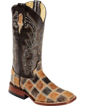 Ferrini Women's Patchwork Western Boots, Brown, hi-res