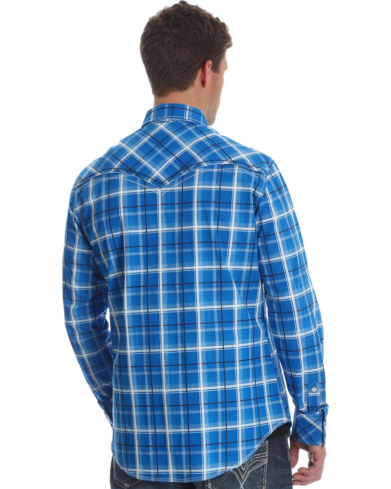 Rock 47 by Wrangler Men's Blue Plaid Long Sleeves Western Shirt , Blue, hi-res