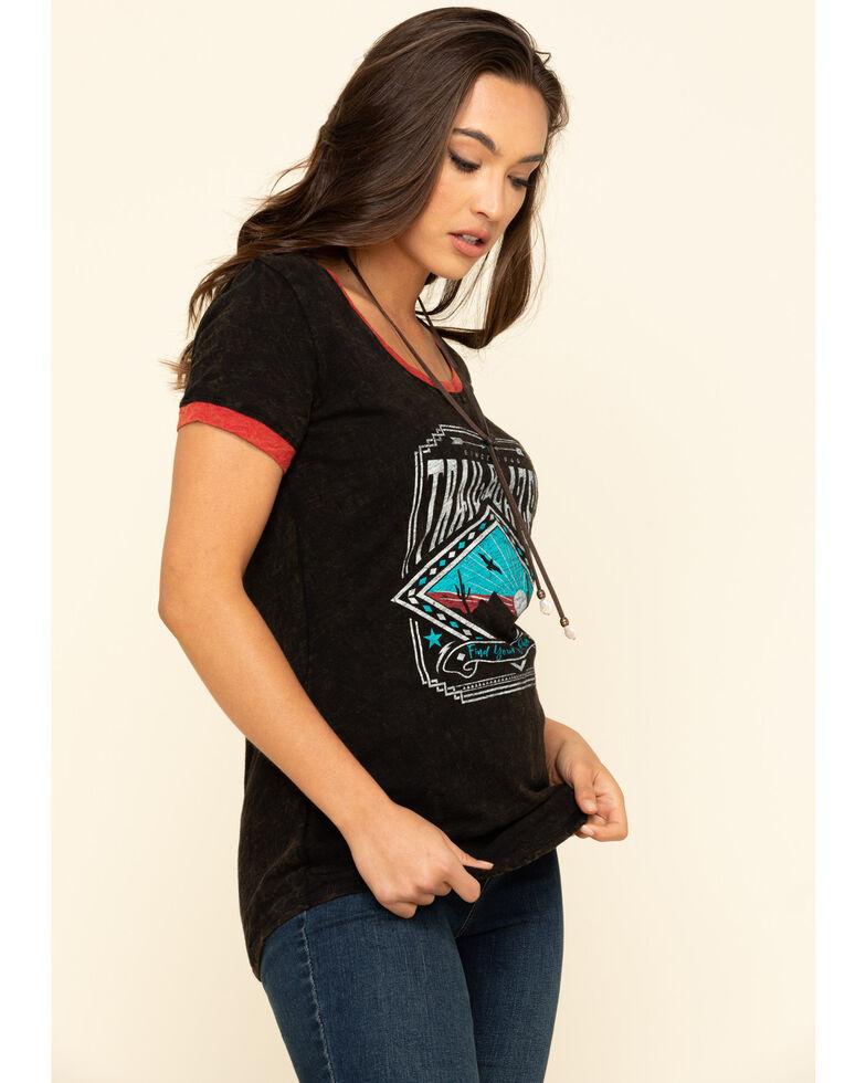 White Label by Panhandle Women's Trailblazer Ringer Tee, Black, hi-res