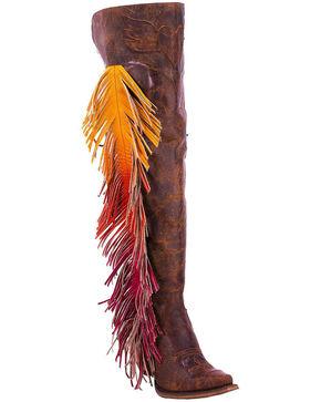 Lane Women's Spirit Animal Ombre Fringe Western Boots, Brown, hi-res