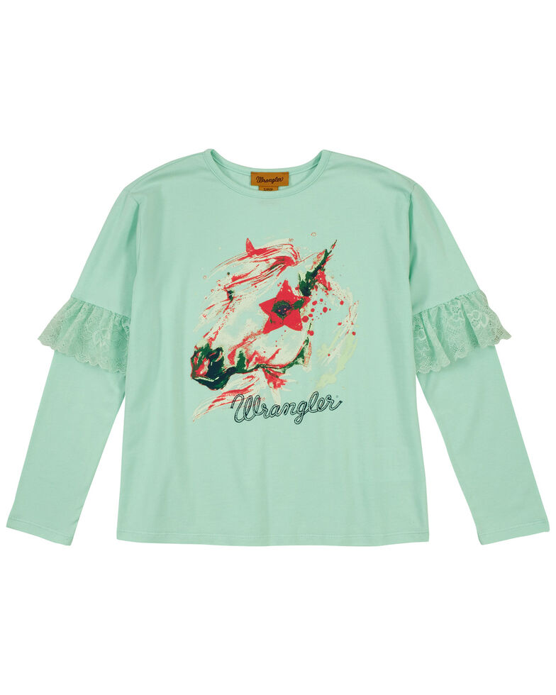 Wrangler Girls' Teal Art Graphic Ruffle Long Sleeve Top , Teal, hi-res