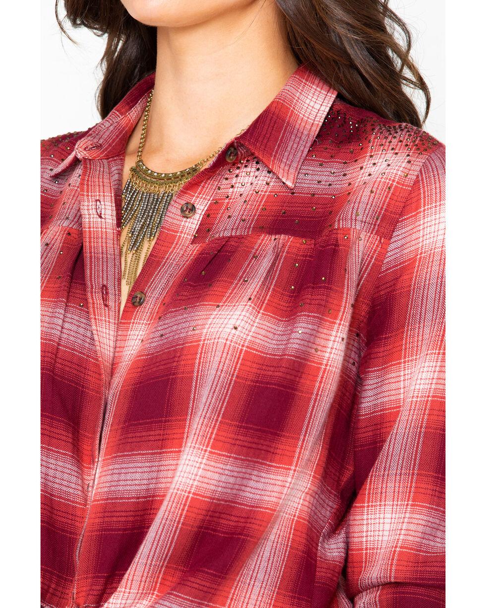 Shyanne Women's Plaid Studded Open Back Flannel Shirt , Rust Copper, hi-res