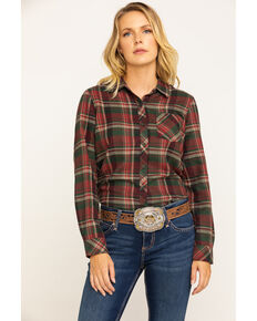 North River Women's Rust Plaid Long Sleeve Flannel Shirt, Medium Red, hi-res